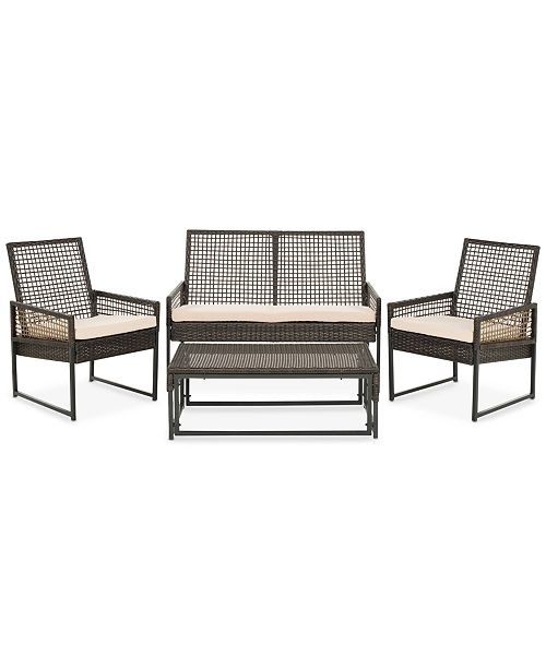 Safavieh Albani Outdoor 4-Pc. Seating Set (1 Loveseat, 2 Chairs & 1 Coffee Table), Quick Ship