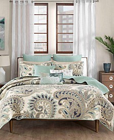 Mira Reversible Quilted Paisley Print Full/Queen Coverlet Mini Set