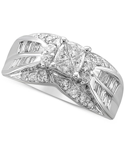 Diamond Fancy Cluster Engagement Ring (1-1/3 ct. t.w.) in 14k White Gold