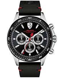 Men's Chronograph  Pilota Black Leather Strap Watch 45mm 0830389