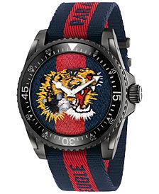 Gucci Unisex Swiss Le Marché Des Merveilles Blue and Red Nylon Strap Watch 45mm YA136215