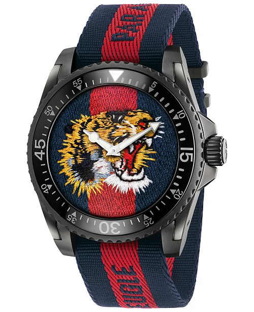23733ec5818 ... Gucci Unisex Swiss Le March eacute  Des Merveilles Blue and Red Nylon  Strap Watch 45mm YA136215 ...