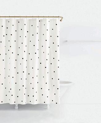 kate spade new york deco cotton dot-print shower curtain