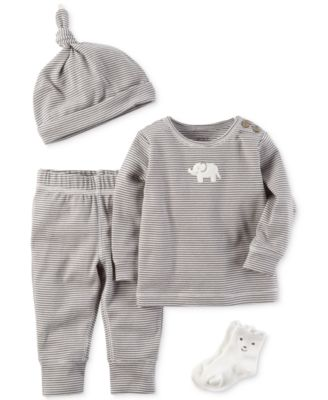Image of Carter's 4-Pc. Striped Hat, Elephant Top, Pants & Socks Set, Baby Boys & Girls (0-24 months)
