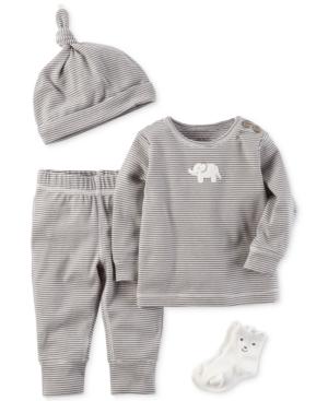 Carters 4Pc Striped Hat Elephant Top Pants  Socks Set Baby Boys  Girls (024 months)