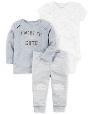 Carter's 3-Pc. I Woke Up This Cute T-Shirt, Bodysuit & Pants Set, Baby Boys (0-24 months) 4609897