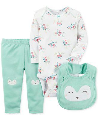 Carter's 3-Pc. Owl Bib, Bodysuit & Pants Set, Baby Girls