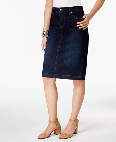 Style & Co Petite Denim Pencil Skirt, Created for Macy's