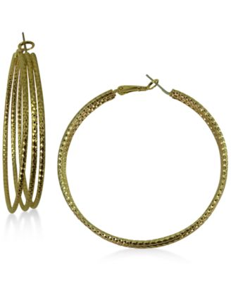 Image of GUESS Gold-Tone Triple-Row Hoop Earrings
