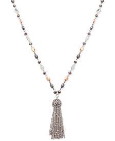 Nine West Tri-Tone Metallic Bead Long Tassel Pendant Necklace