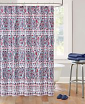 Echo Design Woodstock Cotton Sateen Floral Paisley Print Shower Curtain