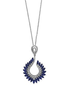 Royalé Bleu by EFFY® Sapphire (4-3/8 ct. t.w.) and Diamond (1/2 ct. t.w.) Pendant Necklace in 14k White Gold