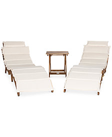 Irena Outdoor 3-Pc. Lounge Set (2 Lounges & 1 End Table), Quick Ship