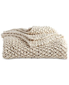 DKNY PURE Cotton Chunky Knit Throw