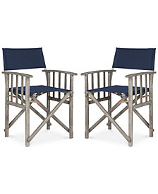 Kali Set of 2 Outdoor Director Chairs, Quick Ship