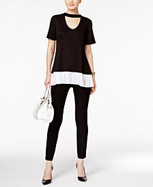 Cable & Gauge Keyhole Pleated Blouse & ECI Straight-Leg Pants