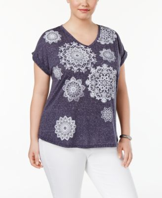 Style & Co Plus Size Medallion-Print Top, Only at Macy's