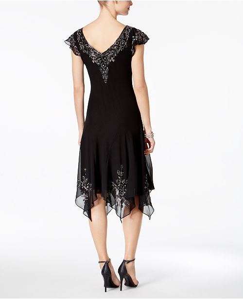 J Kara Beaded Handkerchief Hem Dress Dresses Women