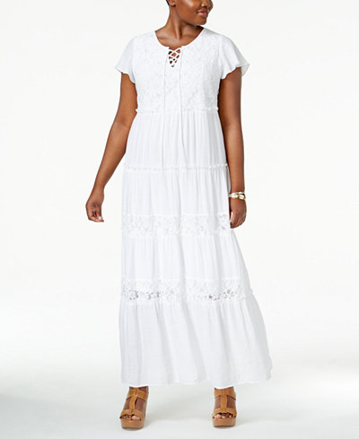 NY Collection Plus Size Peasant Maxi Dress - Dresses - Plus Sizes ...