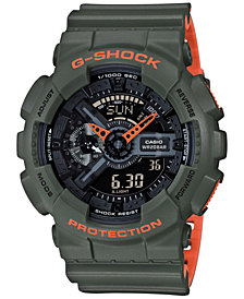 G-Shock Men's Analog-Digital Green & Orange Resin Strap Watch 55mm GA110LN-3A