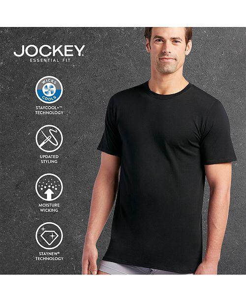 5fe78549 Jockey Men's 3 Pack Essential Fit Staycool + Cotton Crew Neck Undershirts  ...