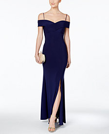 Nightway Off-The-Shoulder Slit Gown