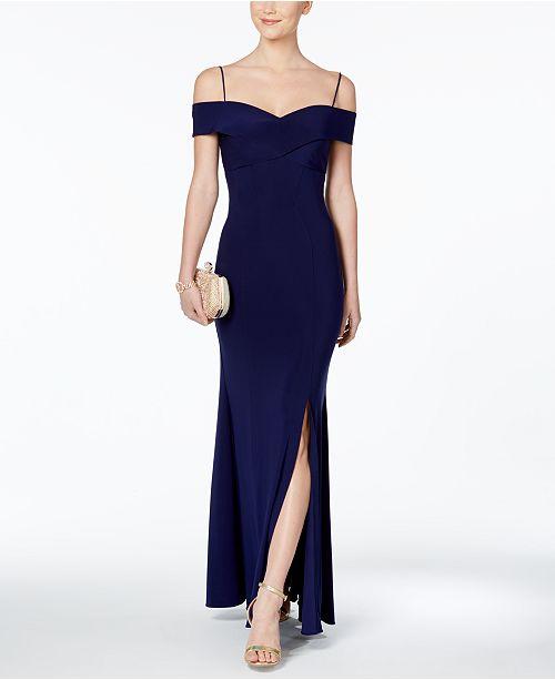 Nightway Cold-Shoulder Slit Gown