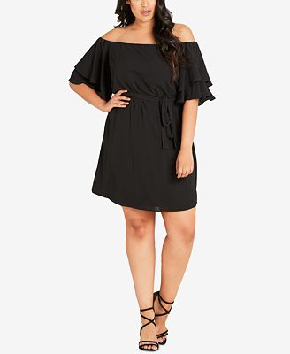 city chic trendy plus size off-the-shoulder belted dress - dresses