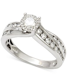 diamond halo channel set engagement ring 1 ct tw in 14k white gold - Clearance Wedding Rings