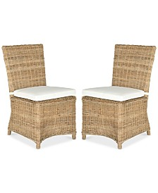 Ellerie Set of 2 Wicker Dining Chairs, Quick Ship