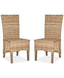 Karmon Set of 2 Wicker Dining Chairs, Quick Ship