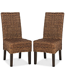 Koure Set of 2 Wicker Dining Chairs, Quick Ship