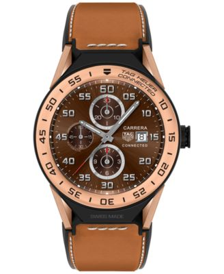 Modular Connected 2.0 Men's Swiss Light Brown Leather Strap Smart Watch 45mm SBF8A5000.32FT6110