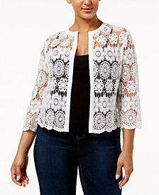 Anne Klein Plus Size Cotton Sheer Crochet Cardigan