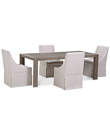 CLOSEOUT! Astor Dining Set, 5-Pc. Set (Dining Table & 4 Upholstered Castered Side Chairs)