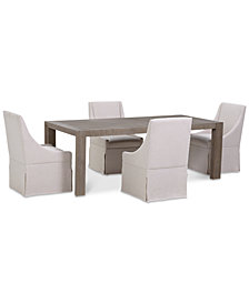 CLOSEOUT! Astor Dining Furniture Set, 5-Pc. Set (Dining Table & 4 Upholstered Castered Side Chairs)