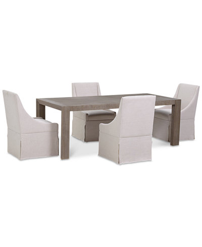 Astor Dining Furniture Set, 5-Pc. Set (Dining Table & 4 Upholstered Castered Side Chairs)