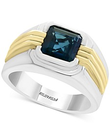 EFFY® Men's London Blue Topaz Two-Tone Ring (2-3/4 ct. t.w.) in Sterling Silver and 14k Gold