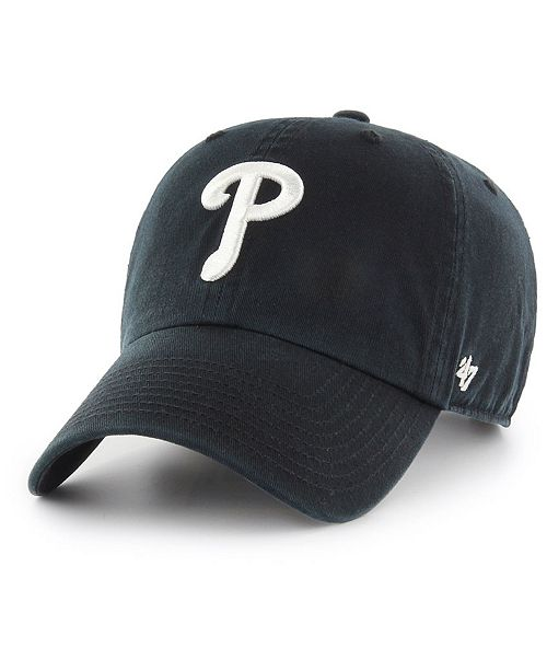 Philadelphia Phillies Black White Clean Up Cap