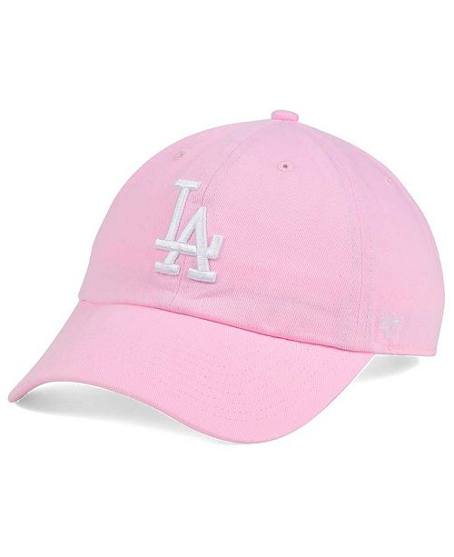 28a41f921efc2  47 Brand Women s Los Angeles Dodgers Pink White Clean Up Cap ...
