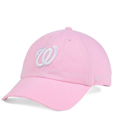 '47 Brand Women's Washington Nationals Pink/White Clean Up Cap