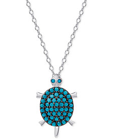 Manufactured Turquoise Turtle Pendant Necklace in Sterling Silver