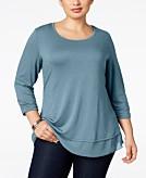 Style & Co Plus Size Chiffon-Hem Top Created for Macys