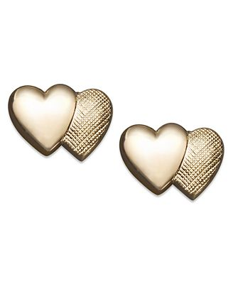 Children's 14k Gold Earrings, Double Heart Stud