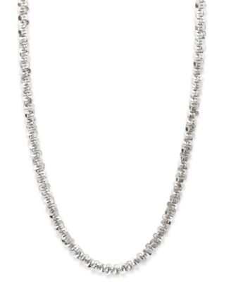 """14k White Gold Necklace, 20"""" Faceted Chain (1-1/2mm)"""