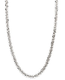 "14k White Gold Necklace, 20"" Faceted Chain (1-1/2mm)"
