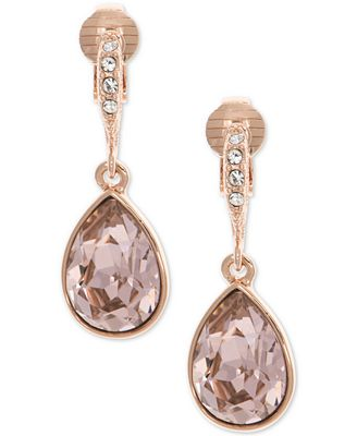 Givenchy Rose Gold Tone Teardrop Crystal Clip On Drop Earrings