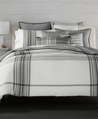CLOSEOUT!  Linen Plaid Full/Queen Duvet Cover, Created for Macy's