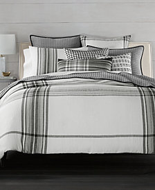 CLOSEOUT! Hotel Collection  Linen Plaid Full/Queen Duvet Cover, Created for Macy's