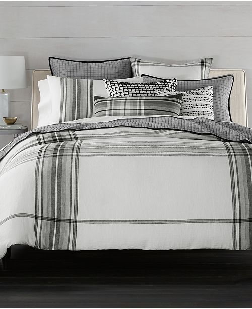 Hotel Collection CLOSEOUT! Linen Plaid Duvet Covers, Created for Macy's